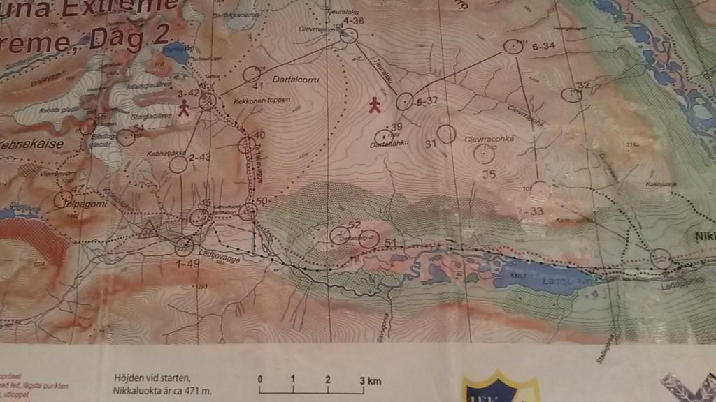 Banan för dag två mätte 32 km och 2100 höjdmeter.