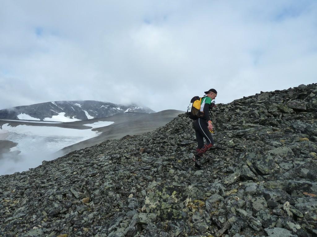 Det planar ut och man ser Björlings glaciär och delar av Kebnekaise.