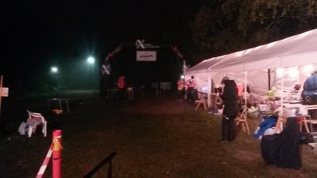 Varvningsområdet på Black River Run på natten.