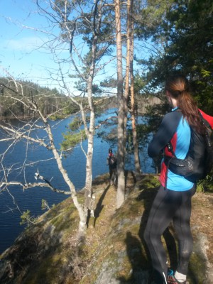 Utsikt över den långsmala sjön Hedsjön.