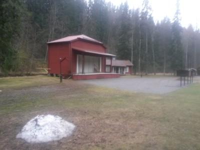Lite snö kvar vid en av scenerna i Säterdalen
