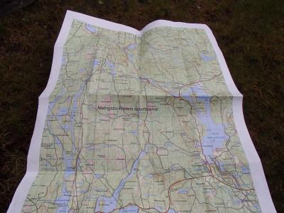 Karta i skala 1:20 000 utskriven på Tyvek.