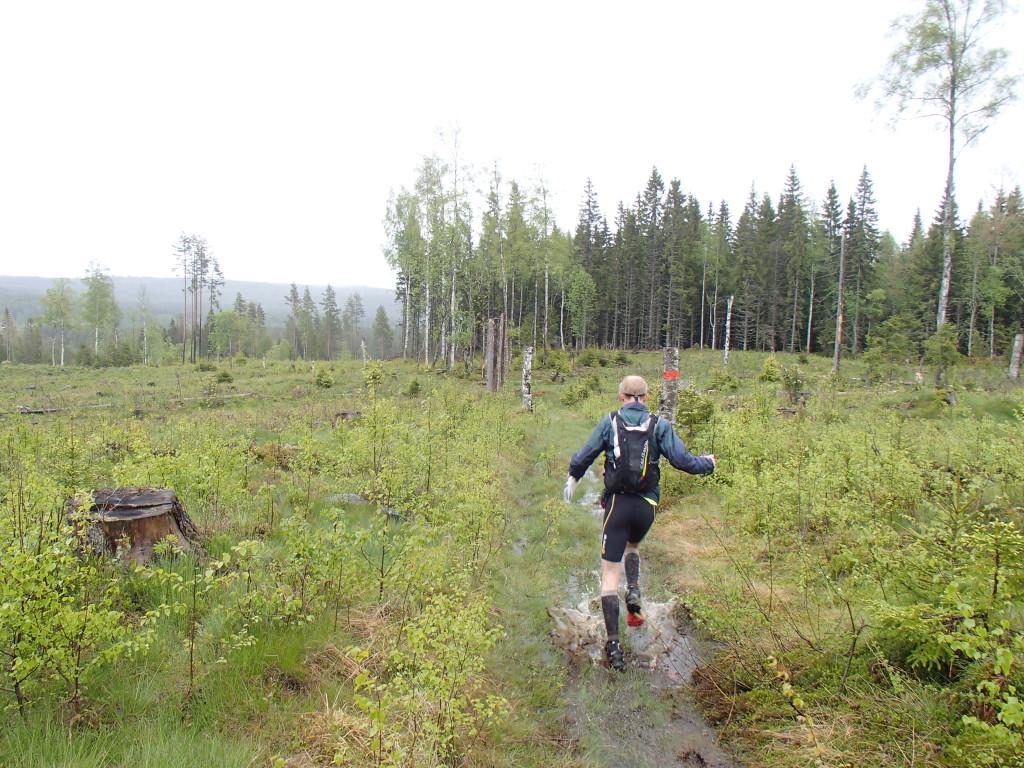 Plaskblött i backen på väg ner mot Björsjö
