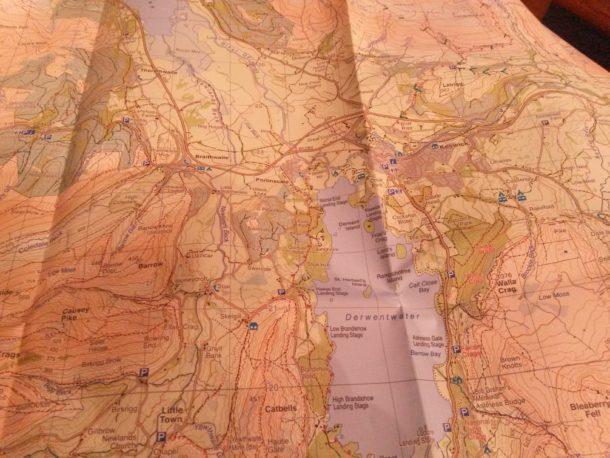 Karta över delar av  området runt Keswick.